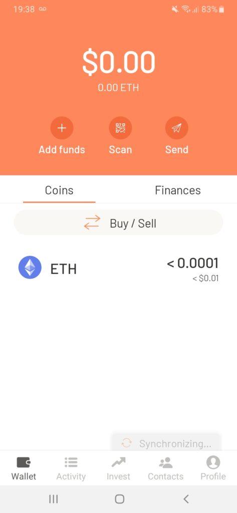 interfaz de argent wallet