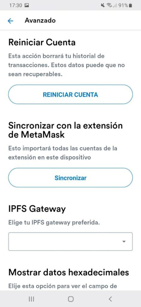 sincronizar metamask plugin y wallet